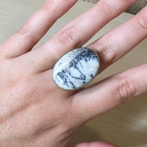 Sterling Silver Handmade Marble Ring, 925, Size 9